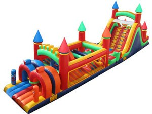 Cheap giant adult castle inflatable obstacle course for sale BY-OC-015