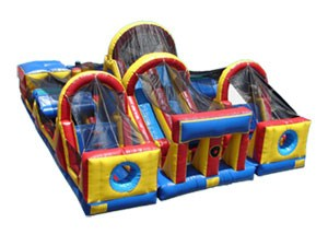 New giant inflatable game, double lane inflatable obstacle course for kids BY-OC-016