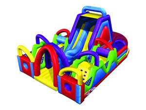 Kids and adults play inflatable obstacle course with small slide BY-OC-017