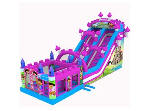 Pink dora inflatable slide combo,inflatable bounce house with slide BY-IC-003