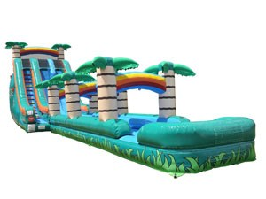 Jungle Inflatable Water Slide With Pool , Big Slip And Slide For Sale BY-SNS-003
