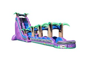 Purple tropical slip and slide water slide inflatable China factory BY-SNS-005
