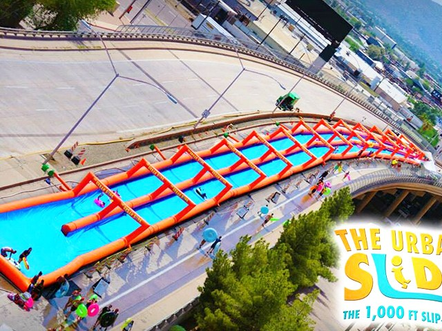 Long Air Sealed Inflatable Water Slip,Giant Dual Lanes Inflatable Water Slide The City  BY-STC-010