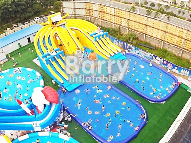 Sponge cartoon inflatable amusement park rides for sale , water park with 2 pools BY-AWP-043