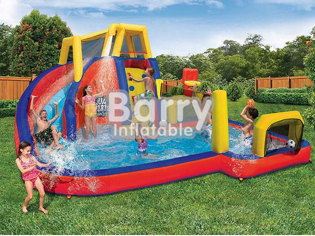 Mobile Attraction Park Equipment , Splash Water Park Inflatable BY-AWP-049