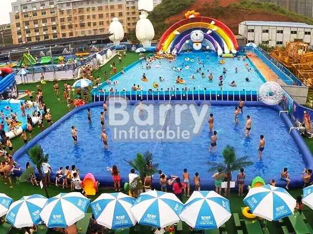 Portable PVC Rainbow Slide For Rectangular Metal Frame Swimming Pool BY-SP-002