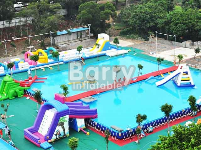 Inflatable pool with slide,giant amusement park inflatable pools for adults BY-SP-004