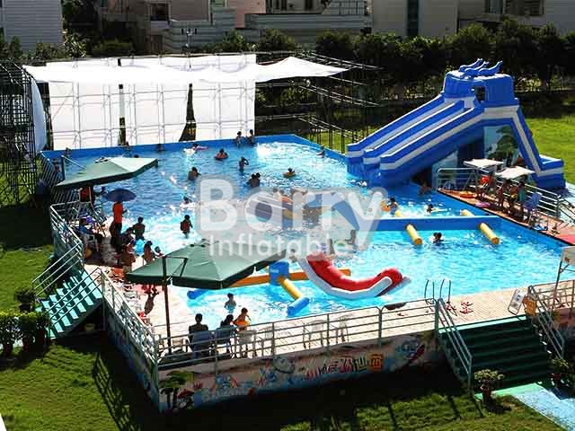 commercial inflatable pools,metal frame pool with fence BY-SP-005