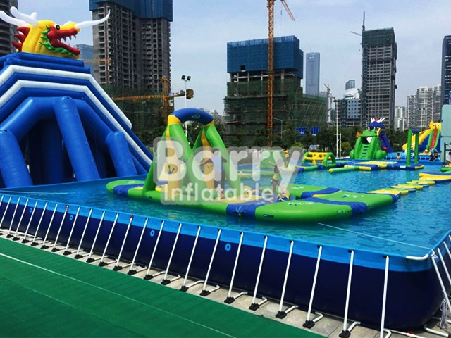 China manufacturer professional design above ground swimming pool with obstacle course BY-SP-009