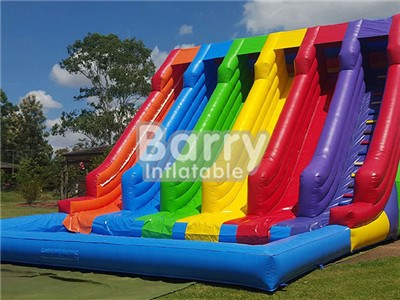 Hot sale guangzhou 4 lane big colorful inflatable water slide with pool BY-WS-017