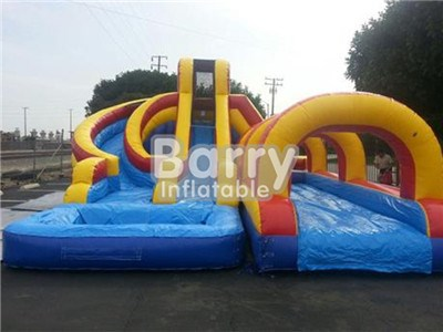 Carzy cash backyard helix water slides with big slip and slide for sale BY-WS-020