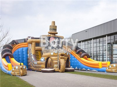 outdoor commercial cheap super pirate ship inflatable water slide manufacturers BY-WS-005