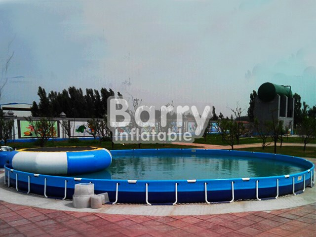 Blue big round above ground swimming pool with floats BY-SP-012