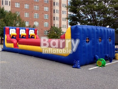 Hot Inflatable Interactive Sport Games Inflatable Bungee Run With Basketball Hoop For Sale BY-IG-021