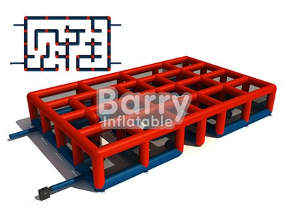 Outdoor giant 10m Kids play game red inflatable maze for sale BY-IG-035
