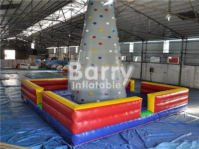 Giant grey color inflatable rock climbing wall price China factory  BY-IG-054