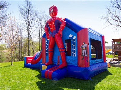 Spiderman cartoon inflatable jumper with slide, inflatable bounce house combo price BY-IC-007
