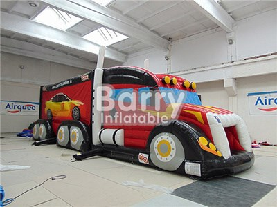 Outdoor giant attractive inflatable fire truck obstacles courses BY-OC-012