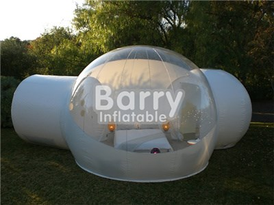 Outdoor camping inflatable transparent bubble tent with 2/two tunnel  BY-IT-022
