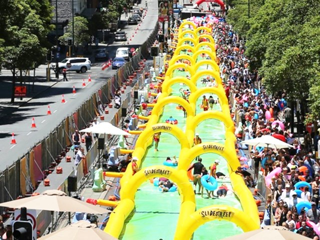 Yellow Double Lane Slide The City