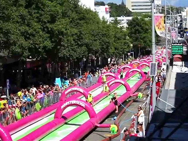 Pink Double Lane Slide The City