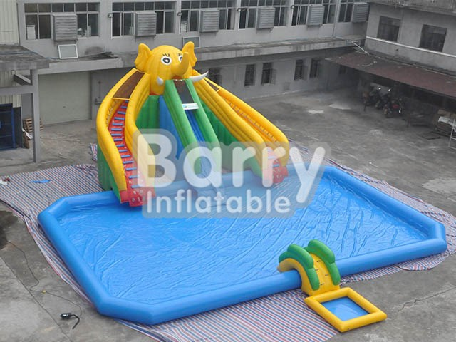 Yellow Inflatable Elephant Head Water Park With Pool