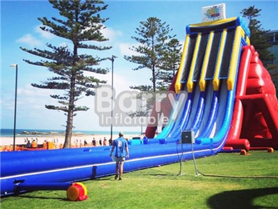 PVC Tarpaulin Giant Commercial Grade Inflatable Three Lane Water Slide For Adults  BY-GS-021