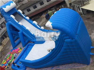 Carzy Commercial Blue Wave Giant Inflatable Water Slides For Sale BY-GS-026