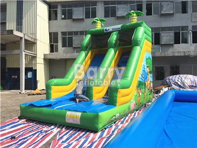 China Industrial Full Printing Zoo Jungle Inflatable Slides For Sale BY-DS-079