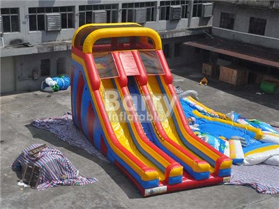 Commercial 12x6m Dua Lanes Inflatable Slide For Kids With Factory Price BY-DS-080