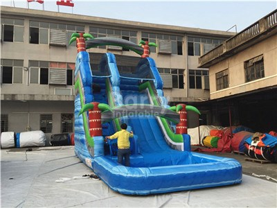 Blue palm tree commercial water slides for sale inflatable BY-WS-123