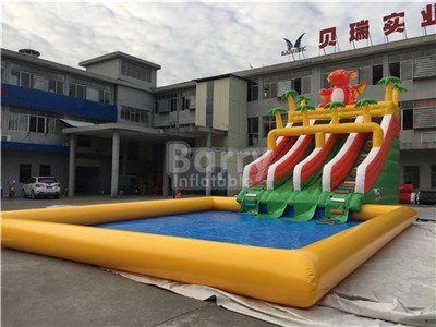 Dragon inflatable water park slides with big swimming pool for sale BY-AWP-114
