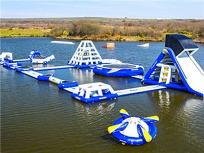 Wake Island Waterpark , Blue Inflatable Aqua Park / Inflatable Water Park For Sea BY-IWP-011